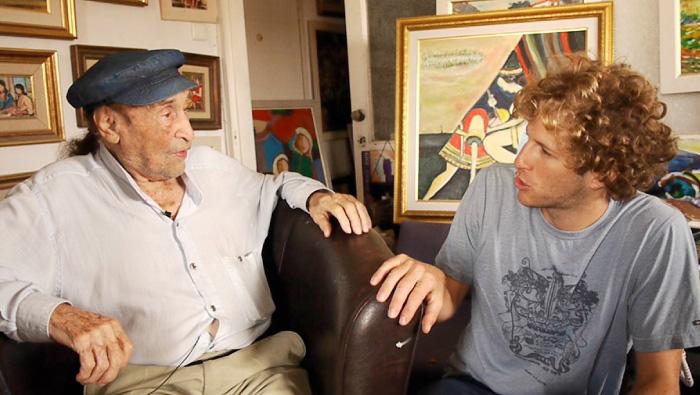 The artist Haim Savitzky talks with videographer Yonatan Zaid, the great-grandson of his hero Alexander Zaid.